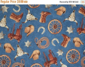 ON SALE Western Cattle Drive Tossed Print on Blue Pure Cotton Fabric--By the Yard