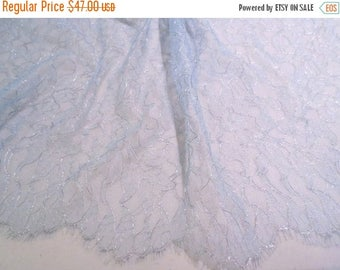 ON SALE Baby Blue and Metallic Silver Leavers Chantilly Lace Fabric--One Yard