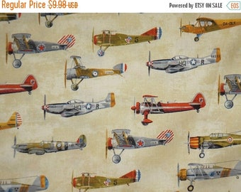 ON SALE Allover Vintage Airplane Print on Beige Pure Cotton Fabric--By the Yard