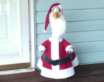GOOSE CLOTHING - Santa Claus red fleece goose lawn outfit - Plastic or Cement Lawn Goose - Goose Clothing - Christmas - Santa