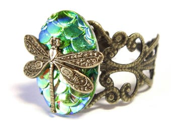 Green dragonfly filigree ring, Art Nouveau ring, dragonfly ring, adjustable ring, Art Nouveau jewelry, gold filigree, dragonfly wing