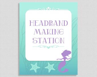 Headband Making Station Sign, Mermaid Shower Table Sign, Aqua and Purple Baby Shower Sign, 2 Sizes, DIY Printable, INSTANT DOWNLOAD
