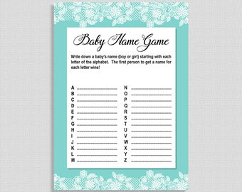Baby Name Shower Game, Tiffany Blue and White Lace Game, A to Z Game, Neutral, DIY Printable, INSTANT DOWNLOAD
