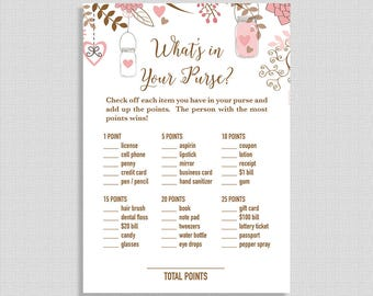 Pink What's In Your Purse Game, Printable Shower Game, Pink & Brown Mason Jar Shower Game, INSTANT DOWNLOAD
