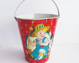 Vintage Ohio Art,  Tin Lithographed Sand  Toy, Vintage Sand Pail