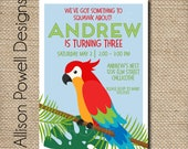 Parrot, Jungle, Bird, Zoo Birthday Party Invitation - Print your own