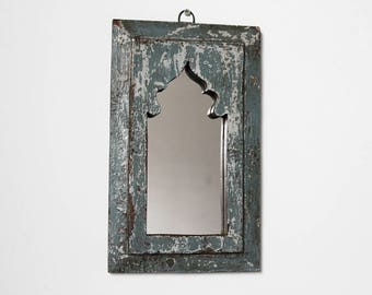 Moroccan Mirror Vintage Wood Framed Mirror Reclaimed Wood Wall Art White and Blue