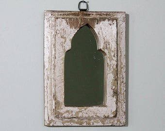 Small Moroccan Mirror Vintage Wood Frame Wall Art Heavily Distressed White Wall Mirror Moroccan Decor Turkish