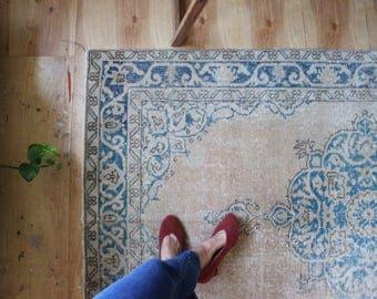 vintage Turkish rug, rustic faded turquoise floral rug, happy worn bohemian runner rug