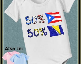 50 Peurto Rico Bodysuit 50 Bosnia cute baby infant toddler bodysuit - Flag baby bodysuit - baby onepiece - baby clothing