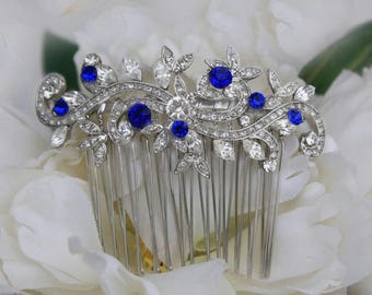 sapphire blue crystal bridal hair comb royal blue rhinestone silver hair comb blue wedding hair comb bridal hair accessories blue