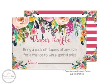 Floral Diaper Raffle Ticket - Baby Shower Insert Card - Baby Shower Diaper Raffle - Diaper Raffle Card - Floral Baby Shower - Rustic