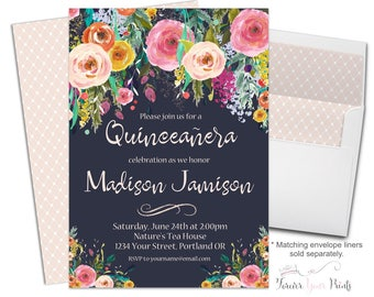 Girls Quinceañera Invitation Printable or Printed - Girls Quinceañera Invite - Floral Quinceañera Invitation - 15th Birthday Invitation Girl