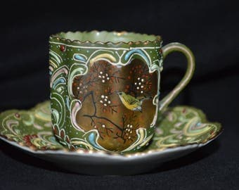 Lenwile Ardalt Japan Demitasse Cup and Saucer-Green-Gold-Rainbow