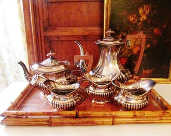 Cheltenham and Co Ltd Tea Service, 5pc Silver Plate Sheffield England, Teapot, Coffee Pot, British Colonial Style, Hollywood Regency