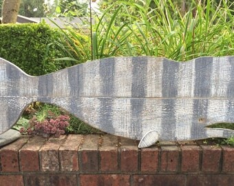 Whale Sign Art Striped White Gray Thick Barn Wood Beach House Decor by CastawaysHall - Ready to Ship