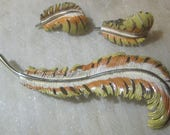 "Vintage 1960's Signed ""Coro"" Enameled Feather Brooch and Clip on Earrings, 3 Piece Set"