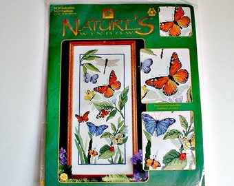 Nature's Window Butterflies Papillons Kit Designs For The Needle  No 5423  Counted Cross Stitch DIY
