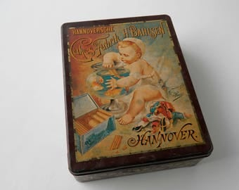 Biscuit or Cookie Advertising Tin. Bahlsen Hannover Germany. Storage Container. Decorative Box. Home Accent. Rustic Cottage Farmhouse Decor.