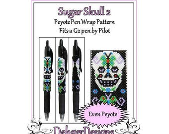 Peyote Beading Pattern (Pen Wrap/Cover)-Sugar Skull 2