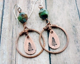 Pine Tree Earrings - Nature Gift - Nature Jewelry - Woodland - Forest - Hiker Gift - Nature Lover - Hammered Copper Circles - Green Beads
