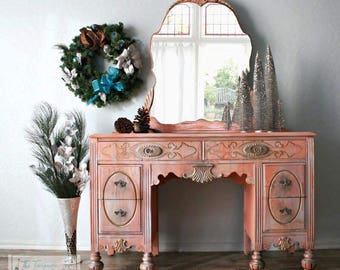 Gorgeous Antique Vanity in Coral