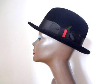 1940s-50s Beaver Felt Fedora Hat - classic vintage black formal men's accessory