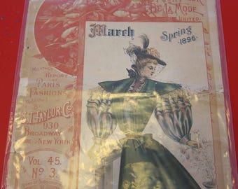 Magazine, Antique, Vintage, Fashions, Ads and Lots More: 1896, The Bon Ton Fashion Magazine, 8 Color Fashion Plates included