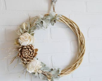 Fall Floral Wreath, Fall Wreath, Round Floral Wreath, Autumn Wreath, Natural Floral Wreath, Shabby Wreath, Autumn Naturals, Green and Gold