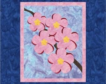 Plumeria Quilt ePattern, 4266-7e, floral wall quilt pattern,plumeria wall quilt