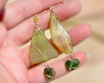 Gold Filled Earrings. Roman Glass Earrings. Roman Glass Jewelry. Mediterranean Sea Glass Earrings. Big Green Earrings. Free Shipping Israel