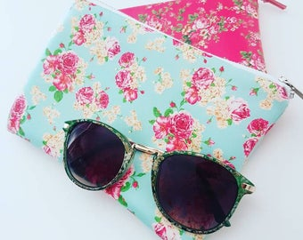 Bright Vinyl Floral Pouch, Lined, Sunglasses, Cellphone, Cosmetics, Pouch, Case, Travel