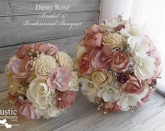 Dusty Rose ~ Peony Sola Flower Bridal Bouquet ~ Bridesmaid Bouquet