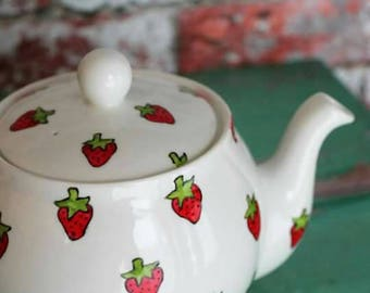 Strawberry teapot hand painted 4 cup teapot