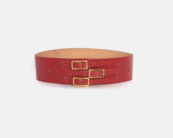 Vintage 50s RED BELT / 1950s Dark Red Leather Triple Buckle Cinch Belt XS