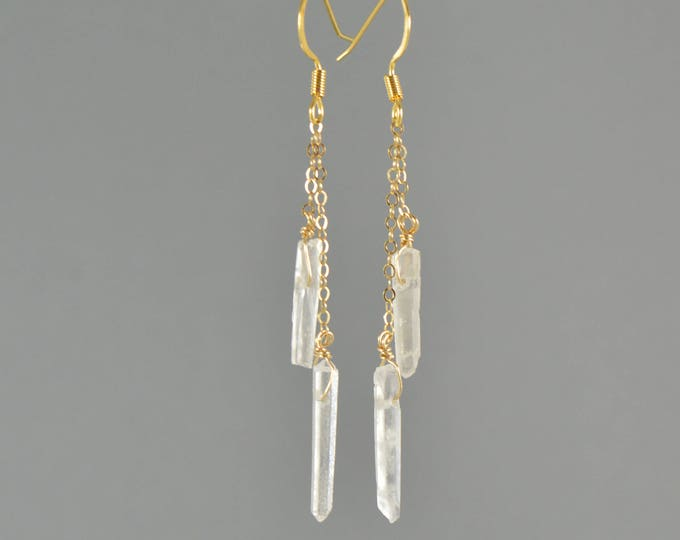 Raw Quartz Crystal Double Chain Drop Point Earrings