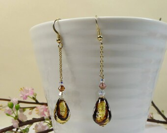 Murano Glass Earrings with with 14kt Goldfill Chain Earrings with 24kt Goldfoil Murano Venetian Drops, Beautiful Gold Stripe Earrings
