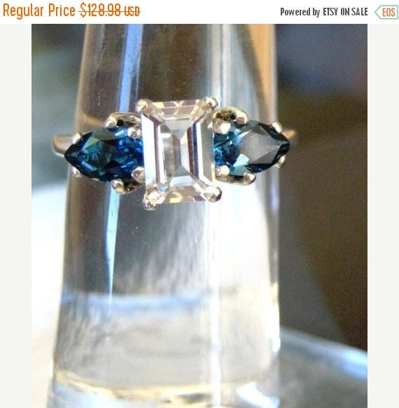 Summer time Sale Event Handmade Three stone ring White Topaz Emerald Cut w/Teardrop Shape sterling silver Green Tsavorite Blue spinel Pink S