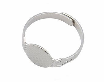 Adjustable Silver Ring with 10mm Glue on Gluing Pad 319q in jewelry findings use with cabochons gemstones cameos