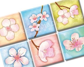 Cherry Blossom Digital Collage Sheet. Floral 1x1 inch squares for scrapbook, magnets, greeting cards, embellishments. Digital download