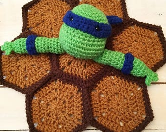 TMNT Leonardo Lovey Blanket--Finished Product