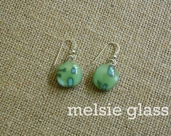 Jamaican Shores green and aqua glass earrings, dangly earrings, beach earrings