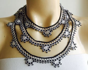 Beaded Oya Necklace-White and Black Lace Necklace-Crochet with black beads