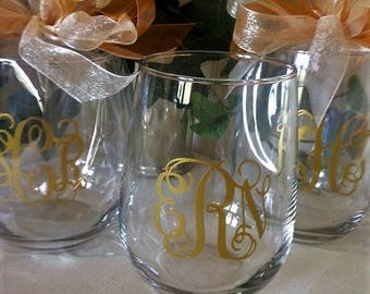 Personalized Monogrammed Wine Glasses, Bridesmaid Wine Glass, Friends- Girls Night Out Party Wine Glasses GIFT WRAPPED
