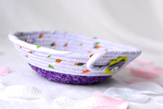 Lavender Ring Basket, Handmade Purple Coiled Bowl, Cute Candy Dish, Desk Accessory Basket, Ultra Violet Artisan Quilted Bowl
