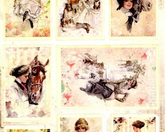 99 - 1 sheet of die cut vintage woman and horse image