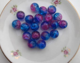 180 set of 10 craqueler Pink/Blue 10mm glass beads