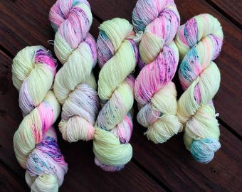 "75 % Superwash Wool / 25 Nylon hand dyed sock, fingering yarn ""More is More"" 100 grams"