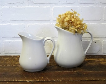 Two White China Ironstone Type Small Farmhouse Pitchers
