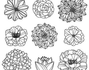BACK TO SCHOOL Sale Flower Silhouettes 3 Clipart Clip Art, Flower Clip Art Clipart - Commercial and Personal Use